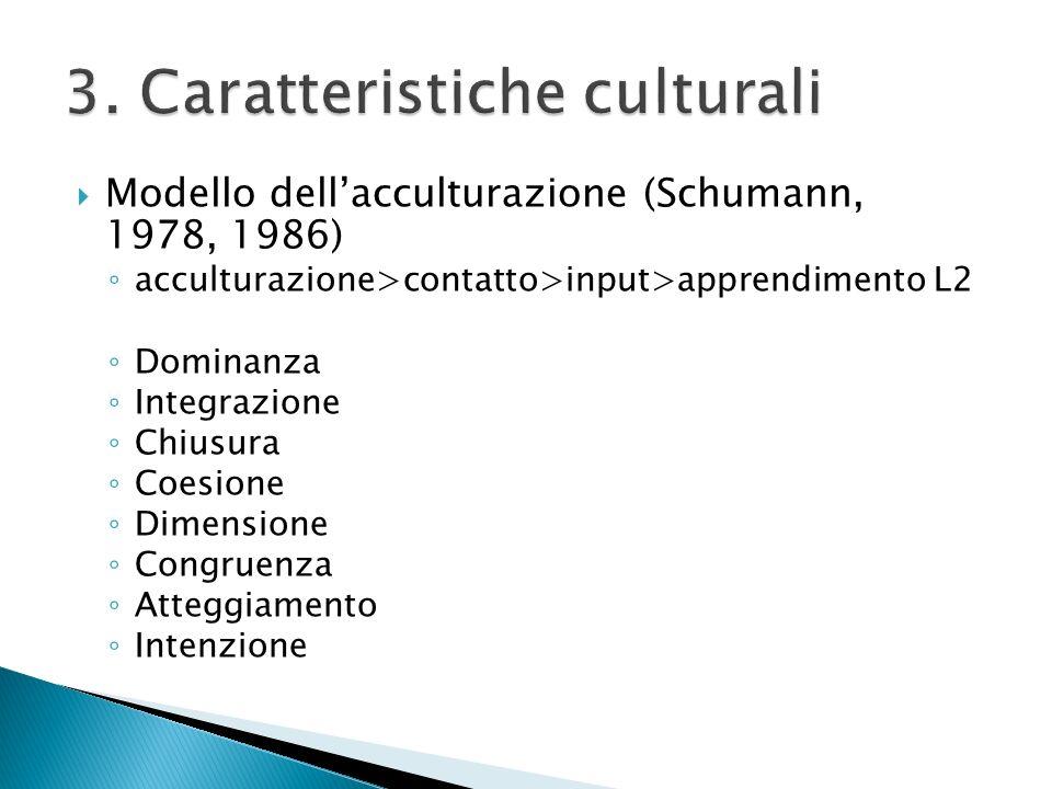 Modello dellacculturazione (Schumann, 1978, 1986) acculturazione>contatto>input>apprendimento L2 Dominanza Integrazione Chiusura Coesione Dimensione C