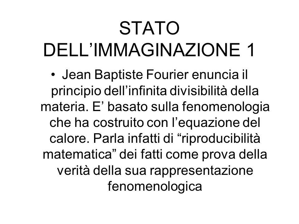 STATO DELLIMMAGINAZIONE 1 Jean Baptiste Fourier enuncia il principio dellinfinita divisibilità della materia.