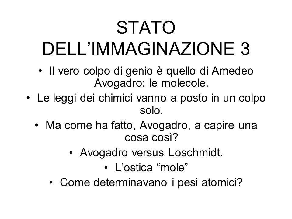 STATO DELLIMMAGINAZIONE 3 Il vero colpo di genio è quello di Amedeo Avogadro: le molecole.