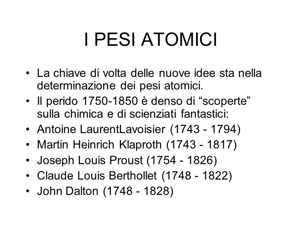 I PESI ATOMICI La chiave di volta delle nuove idee sta nella determinazione dei pesi atomici.