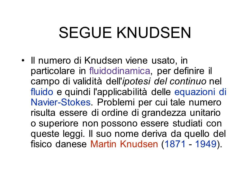 SEGUE KNUDSEN Il numero di Knudsen viene usato, in particolare in fluidodinamica, per definire il campo di validità dell ipotesi del continuo nel fluido e quindi l applicabilità delle equazioni di Navier-Stokes.
