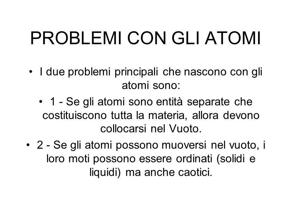 PROBLEMI CON GLI ATOMI I due problemi principali che nascono con gli atomi sono: 1 - Se gli atomi sono entità separate che costituiscono tutta la materia, allora devono collocarsi nel Vuoto.