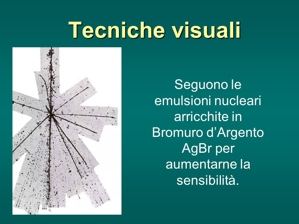 Tecniche visuali Seguono le emulsioni nucleari arricchite in Bromuro dArgento AgBr per aumentarne la sensibilità.