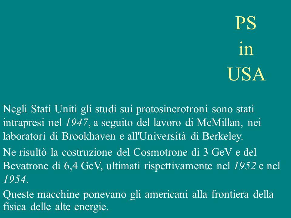 PS in USA Negli Stati Uniti gli studi sui protosincrotroni sono stati intrapresi nel 1947, a seguito del lavoro di McMillan, nei laboratori di Brookha