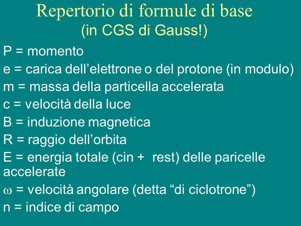 Repertorio di formule di base (in CGS di Gauss!) P = momento e = carica dellelettrone o del protone (in modulo) m = massa della particella accelerata
