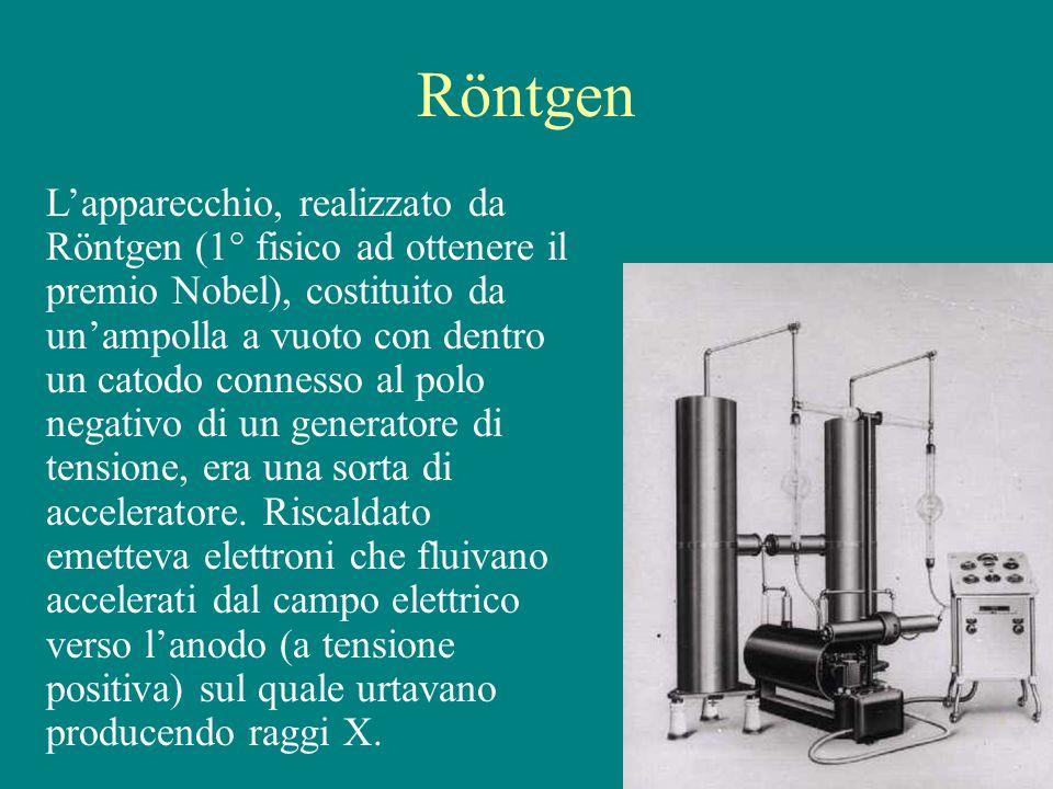 Röntgen Lapparecchio, realizzato da Röntgen (1° fisico ad ottenere il premio Nobel), costituito da unampolla a vuoto con dentro un catodo connesso al
