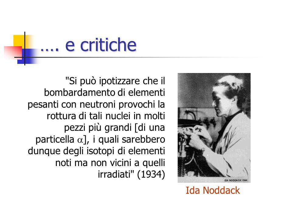 Conferme L'interpretazione di Fermi viene confermata a Berlino (O. Hahn e L. Meitner) e a Parigi (I. Curie e P. Savitch) A Roma si comincia a parlare