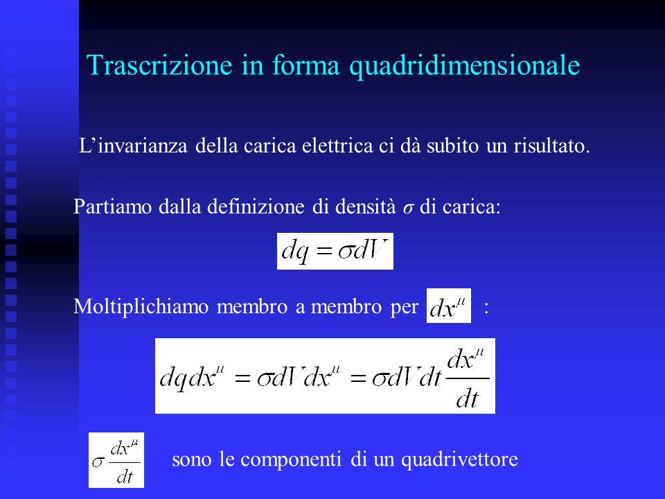 Trascrizione in forma quadridimensionale Linvarianza della carica elettrica ci dà subito un risultato.