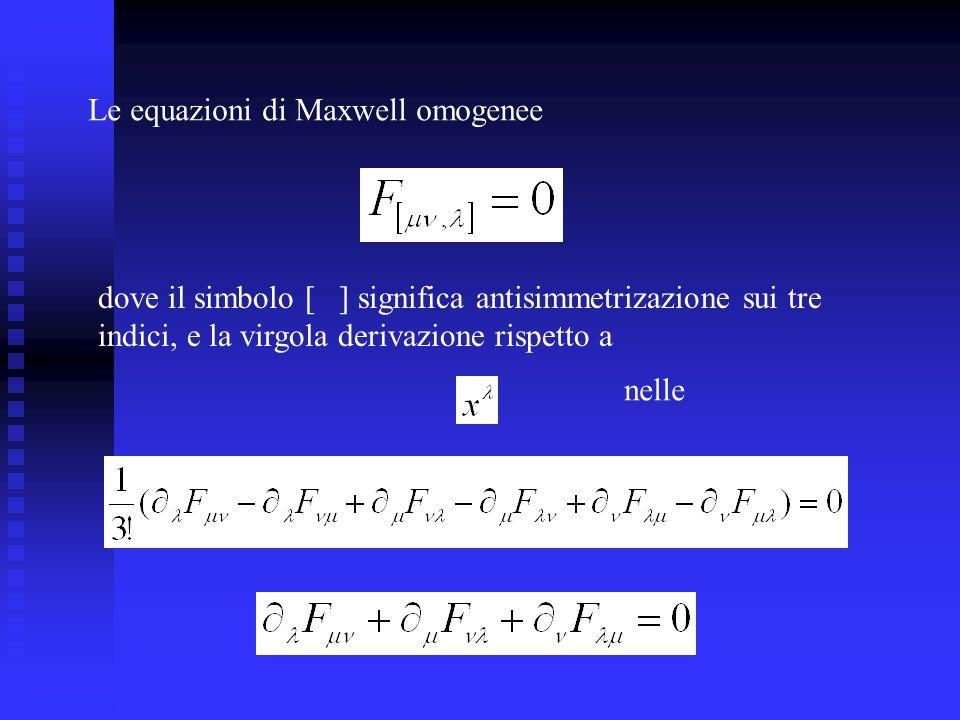 Le equazioni di Maxwell omogenee dove il simbolo [ ] significa antisimmetrizazione sui tre indici, e la virgola derivazione rispetto a nelle