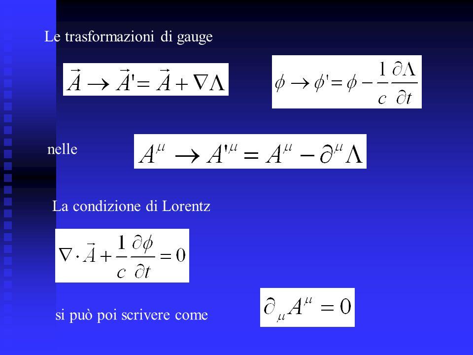 La condizione di Lorentz Le trasformazioni di gauge nelle si può poi scrivere come