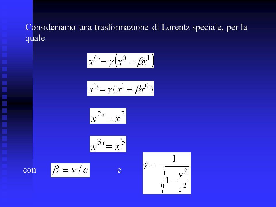 Consideriamo una trasformazione di Lorentz speciale, per la quale cone