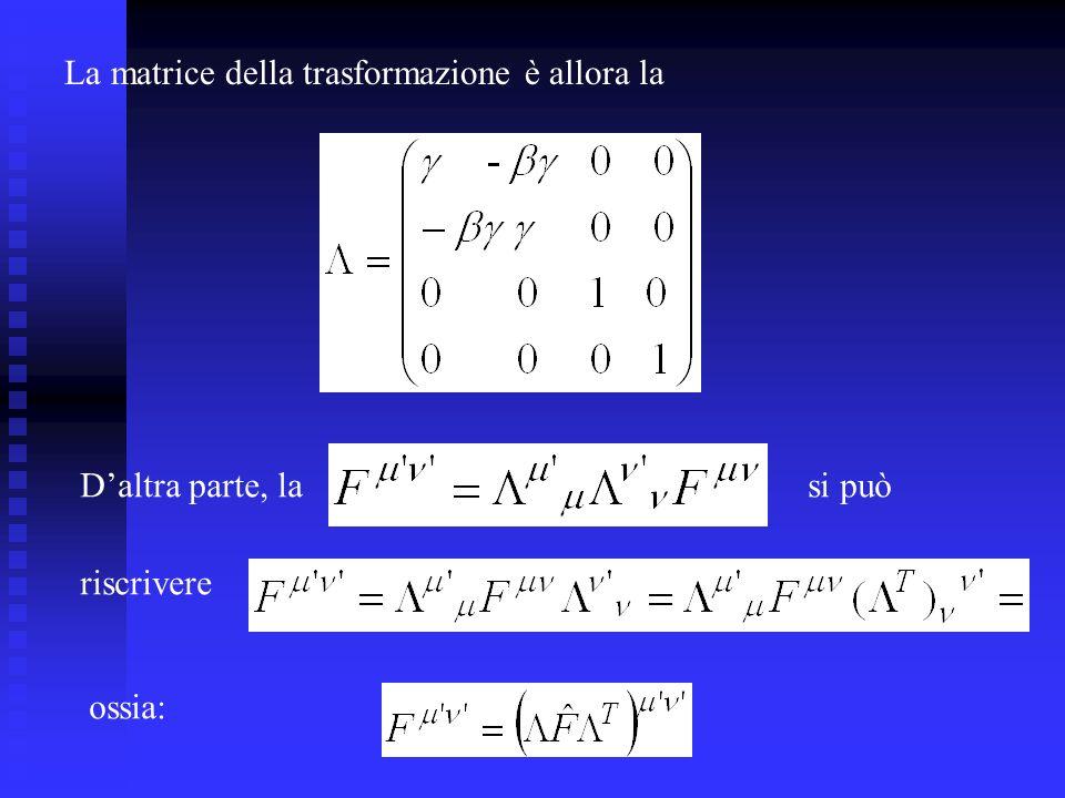 La matrice della trasformazione è allora la Daltra parte, lasi può riscrivere ossia: