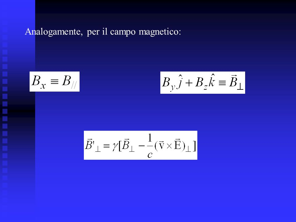 Analogamente, per il campo magnetico: