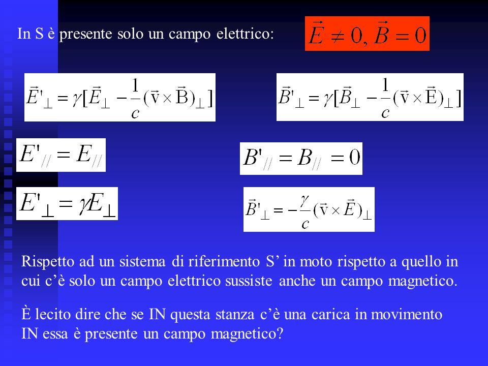 Rispetto ad un sistema di riferimento S in moto rispetto a quello in cui cè solo un campo elettrico sussiste anche un campo magnetico.