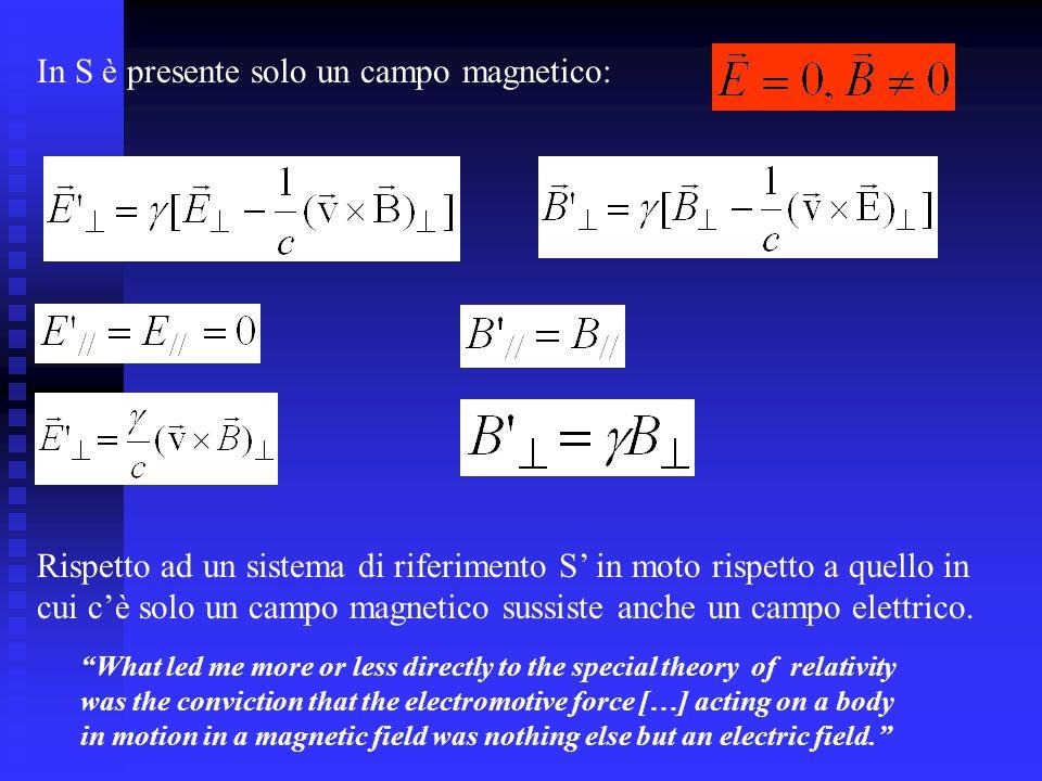 In S è presente solo un campo magnetico: Rispetto ad un sistema di riferimento S in moto rispetto a quello in cui cè solo un campo magnetico sussiste anche un campo elettrico.