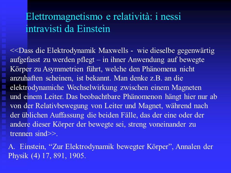 Elettromagnetismo e relatività: i nessi intravisti da Einstein <<Dass die Elektrodynamik Maxwells - wie dieselbe gegenwärtig aufgefasst zu werden pflegt – in ihner Anwendung auf bewegte Körper zu Asymmetrien führt, welche den Phänomena nicht anzuhaften scheinen, ist bekannt.