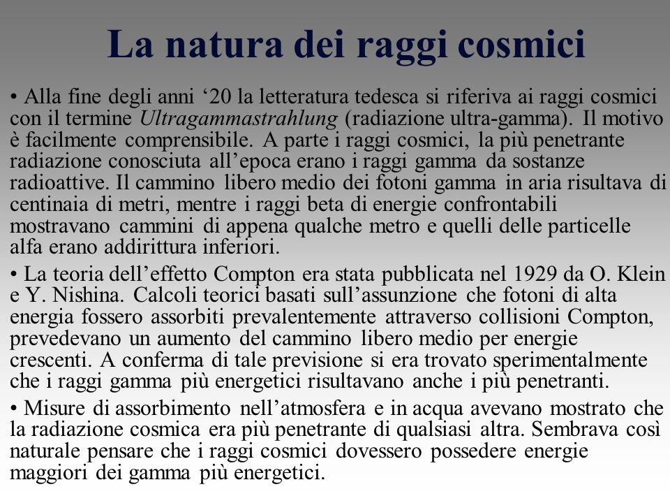 La natura dei raggi cosmici Alla fine degli anni 20 la letteratura tedesca si riferiva ai raggi cosmici con il termine Ultragammastrahlung (radiazione ultra-gamma).