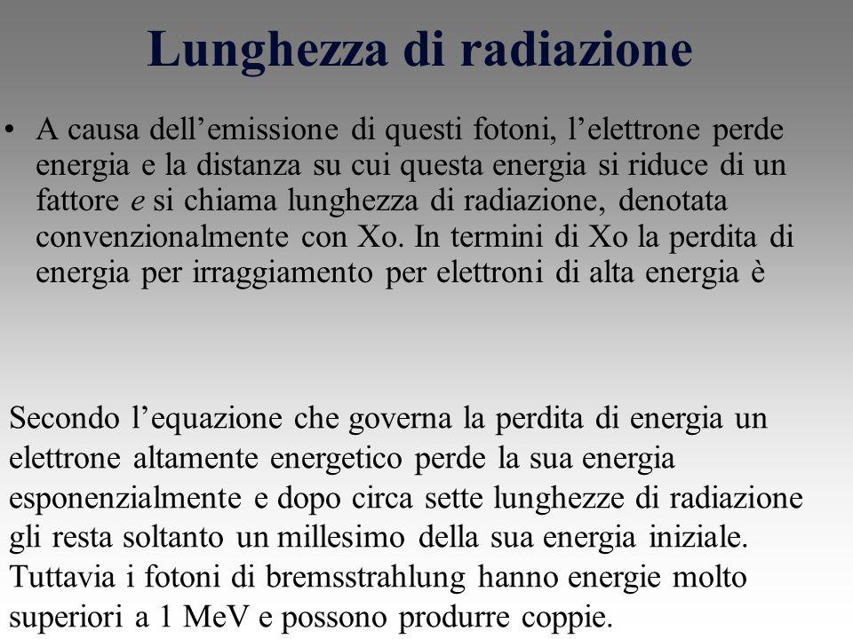 Lunghezza di radiazione A causa dellemissione di questi fotoni, lelettrone perde energia e la distanza su cui questa energia si riduce di un fattore e si chiama lunghezza di radiazione, denotata convenzionalmente con Xo.