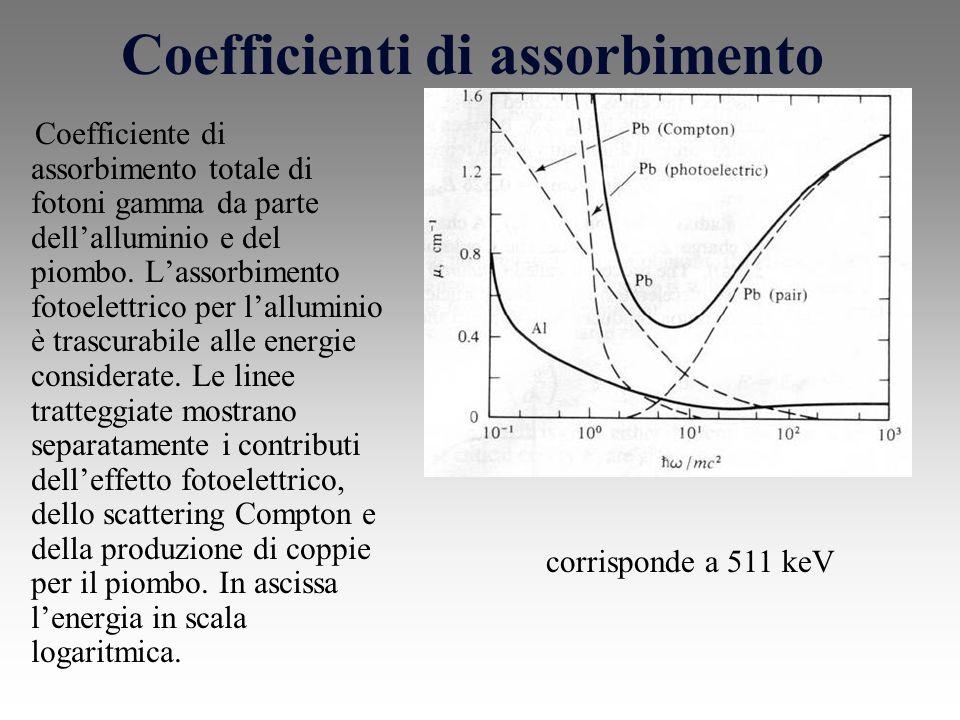 Coefficienti di assorbimento Coefficiente di assorbimento totale di fotoni gamma da parte dellalluminio e del piombo.