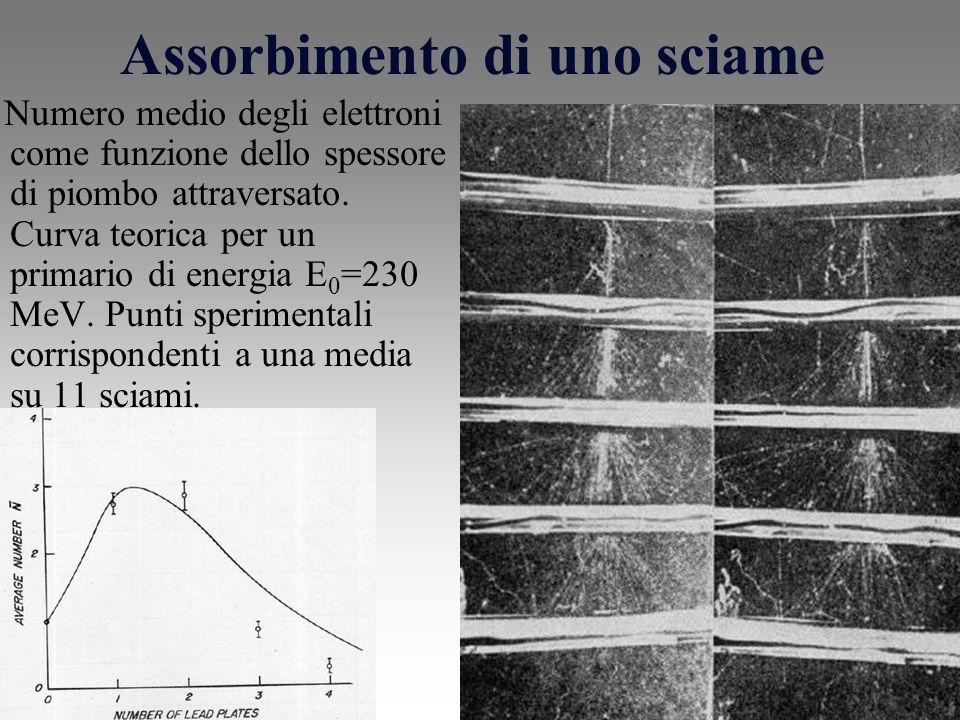 Assorbimento di uno sciame Numero medio degli elettroni come funzione dello spessore di piombo attraversato.
