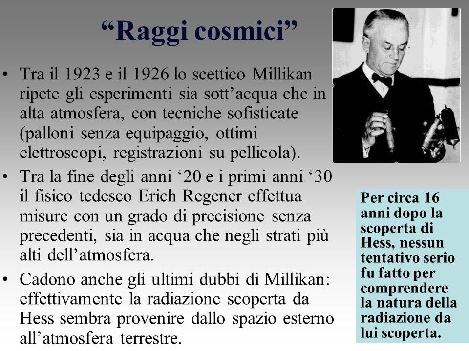 Raggi cosmici Tra il 1923 e il 1926 lo scettico Millikan ripete gli esperimenti sia sottacqua che in alta atmosfera, con tecniche sofisticate (palloni senza equipaggio, ottimi elettroscopi, registrazioni su pellicola).