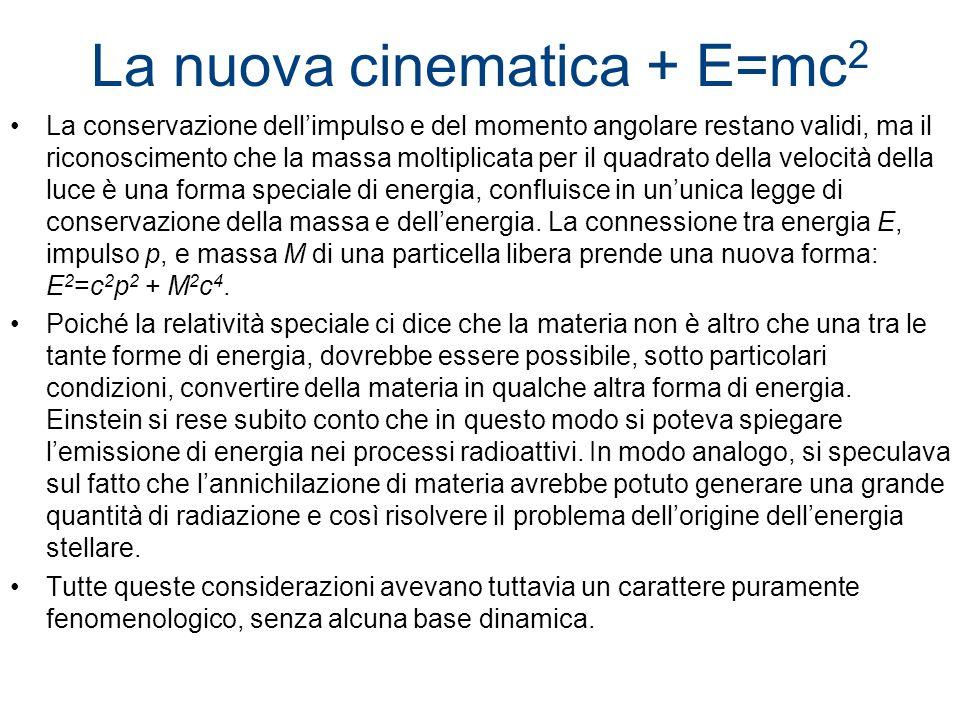 La nuova cinematica + E=mc 2 La conservazione dellimpulso e del momento angolare restano validi, ma il riconoscimento che la massa moltiplicata per il