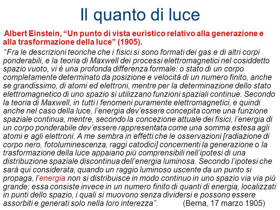 Il quanto di luce Albert Einstein, Un punto di vista euristico relativo alla generazione e alla trasformazione della luce (1905). Fra le descrizioni t