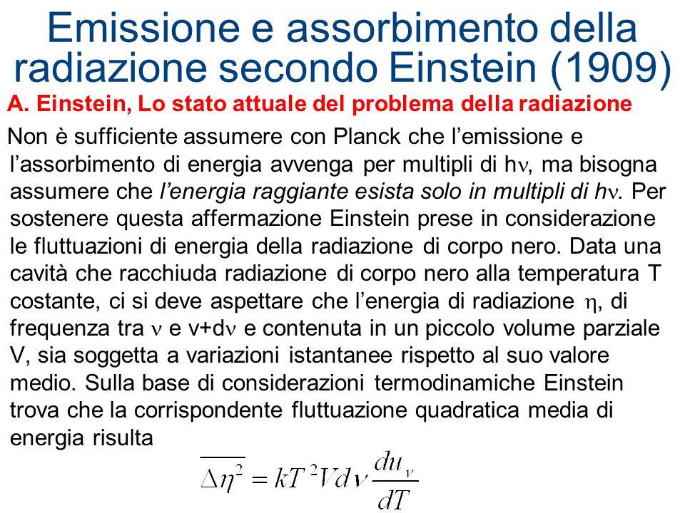 Emissione e assorbimento della radiazione secondo Einstein (1909) A. Einstein, Lo stato attuale del problema della radiazione Non è sufficiente assume