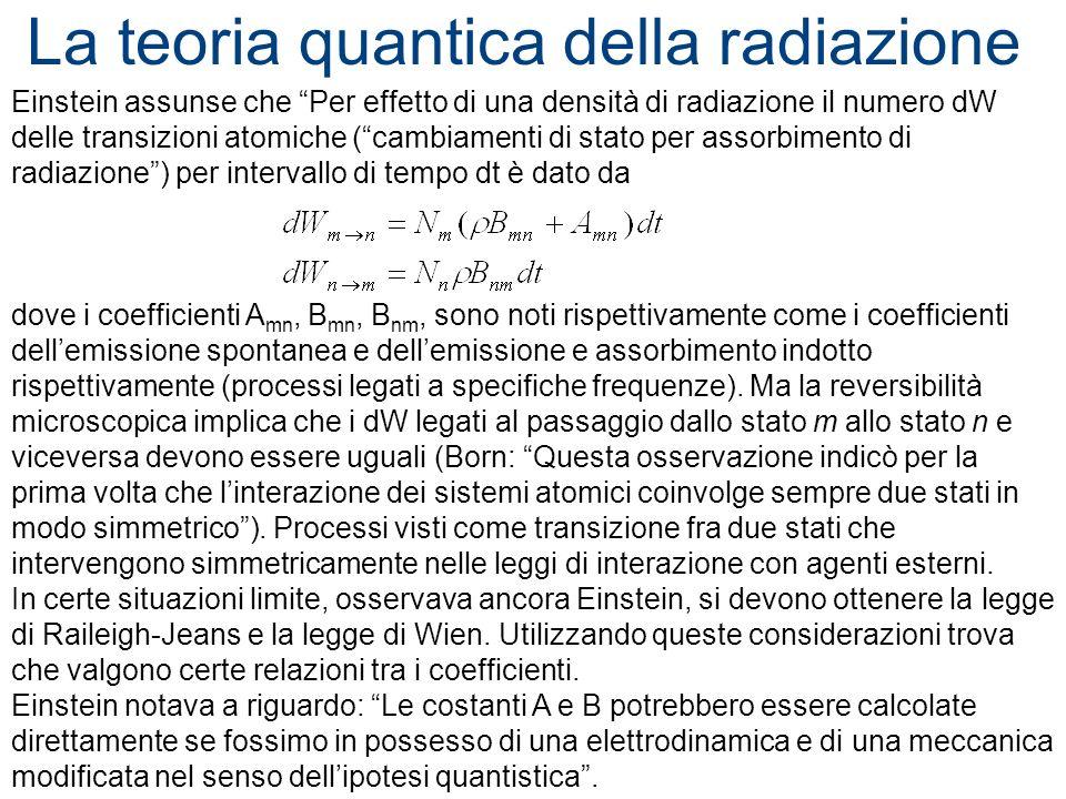 La teoria quantica della radiazione Einstein assunse che Per effetto di una densità di radiazione il numero dW delle transizioni atomiche (cambiamenti