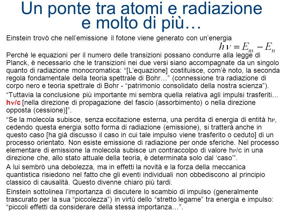 Un ponte tra atomi e radiazione e molto di più… Einstein trovò che nellemissione il fotone viene generato con unenergia Perché le equazioni per il num