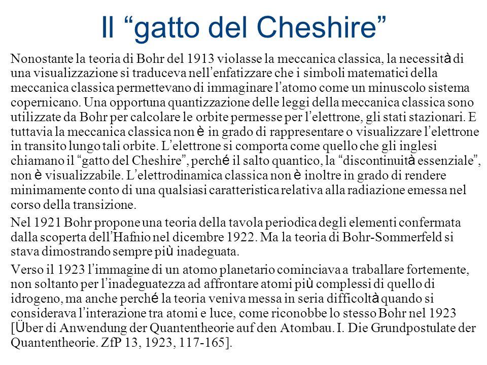Il gatto del Cheshire Nonostante la teoria di Bohr del 1913 violasse la meccanica classica, la necessit à di una visualizzazione si traduceva nell enf