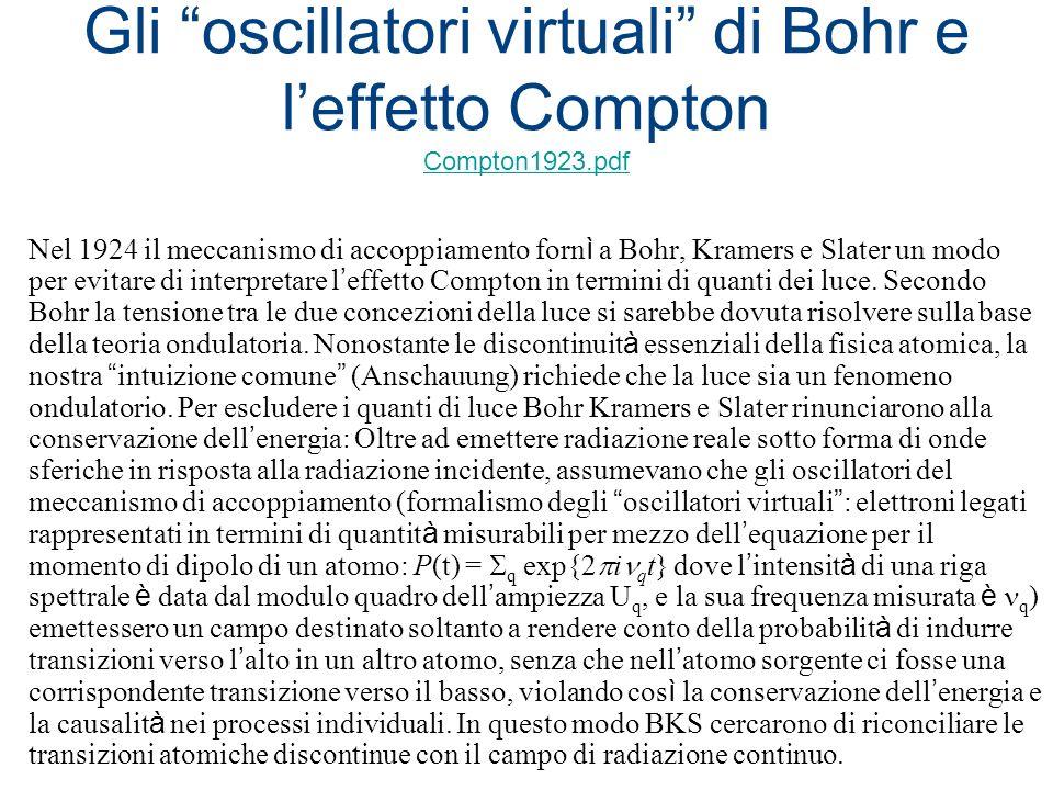 Gli oscillatori virtuali di Bohr e leffetto Compton Compton1923.pdf Compton1923.pdf Nel 1924 il meccanismo di accoppiamento forn ì a Bohr, Kramers e S