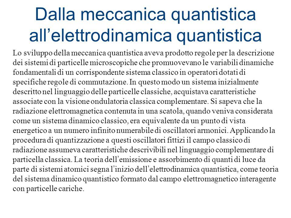 Dalla meccanica quantistica allelettrodinamica quantistica Lo sviluppo della meccanica quantistica aveva prodotto regole per la descrizione dei sistem