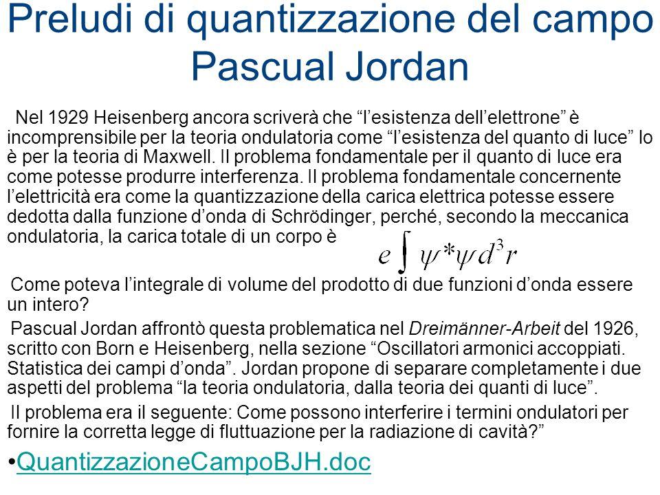 Preludi di quantizzazione del campo Pascual Jordan Nel 1929 Heisenberg ancora scriverà che lesistenza dellelettrone è incomprensibile per la teoria on