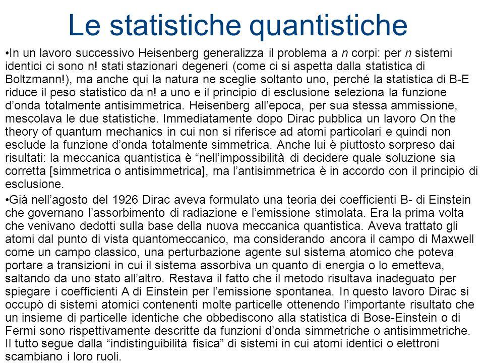 Le statistiche quantistiche In un lavoro successivo Heisenberg generalizza il problema a n corpi: per n sistemi identici ci sono n! stati stazionari d