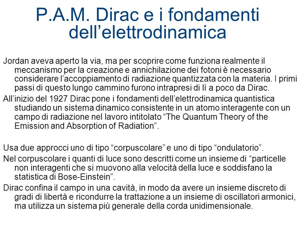 P.A.M. Dirac e i fondamenti dellelettrodinamica Jordan aveva aperto la via, ma per scoprire come funziona realmente il meccanismo per la creazione e a