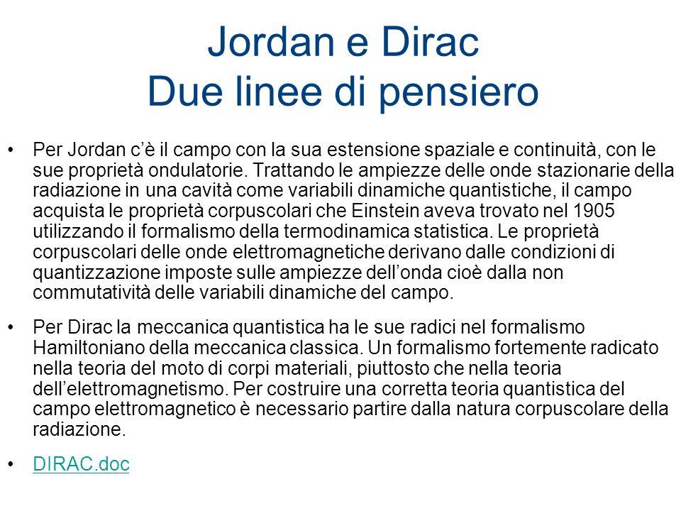 Jordan e Dirac Due linee di pensiero Per Jordan cè il campo con la sua estensione spaziale e continuità, con le sue proprietà ondulatorie. Trattando l
