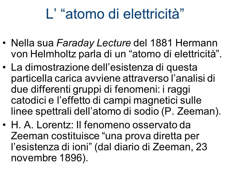 L atomo di elettricità Nella sua Faraday Lecture del 1881 Hermann von Helmholtz parla di un atomo di elettricità. La dimostrazione dellesistenza di qu
