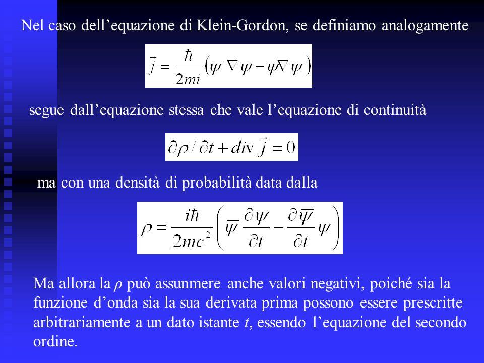 Nel caso dellequazione di Klein-Gordon, se definiamo analogamente segue dallequazione stessa che vale lequazione di continuità ma con una densità di probabilità data dalla Ma allora la ρ può assunmere anche valori negativi, poiché sia la funzione donda sia la sua derivata prima possono essere prescritte arbitrariamente a un dato istante t, essendo lequazione del secondo ordine.