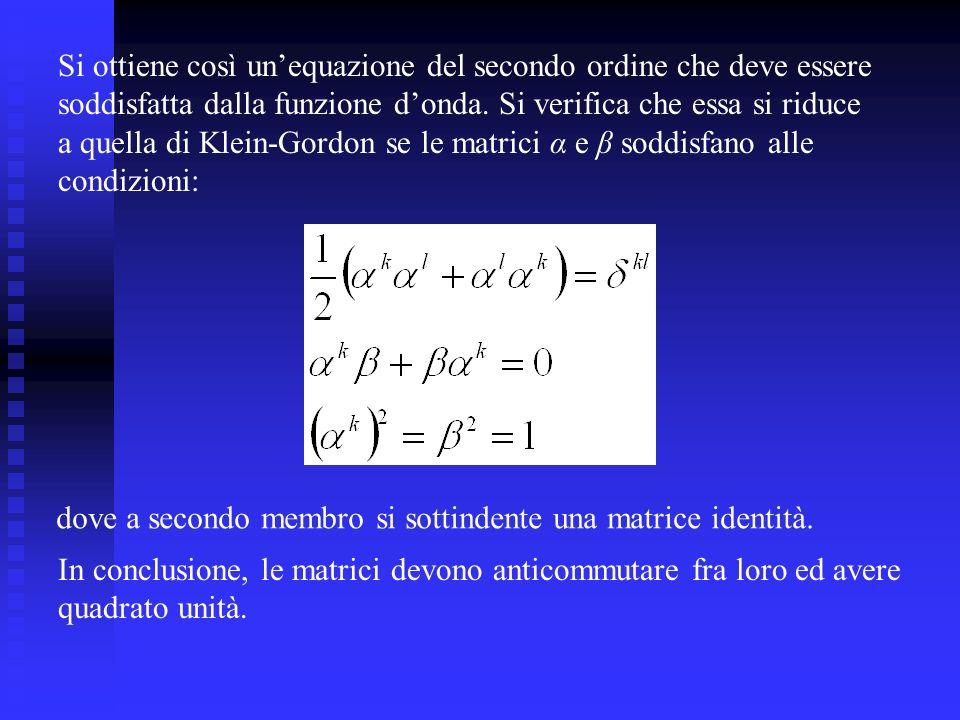 Si ottiene così unequazione del secondo ordine che deve essere soddisfatta dalla funzione donda.