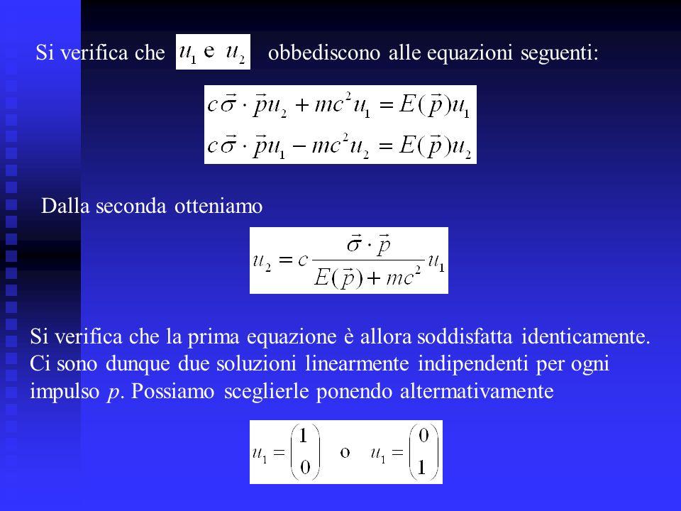 Si verifica cheobbediscono alle equazioni seguenti: Dalla seconda otteniamo Si verifica che la prima equazione è allora soddisfatta identicamente.