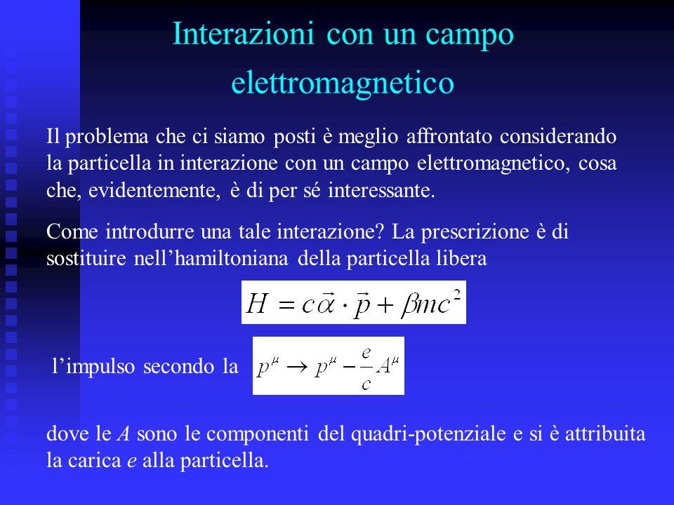 Interazioni con un campo elettromagnetico Il problema che ci siamo posti è meglio affrontato considerando la particella in interazione con un campo elettromagnetico, cosa che, evidentemente, è di per sé interessante.