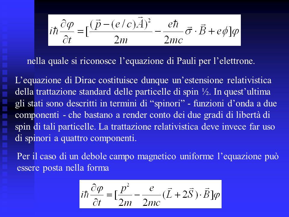 nella quale si riconosce lequazione di Pauli per lelettrone.