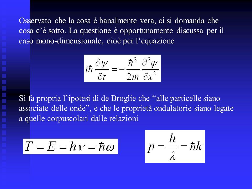Si mostra allora che - deve figurarvi una derivazione del primo ordine rispetto al tempo - e del secondo ordine rispetto alla coordinata spaziale - che a coefficiente della prima deve figurare un fattore i - che devono figurarvi m e h nella forma prevista - In conclusione, che lequazione deve proprio avere quella forma, o, che è dire la stessa cosa, che essa si può proprio ottenere rimpiazzando E e p con gli operatori differenziali di cui sopra.