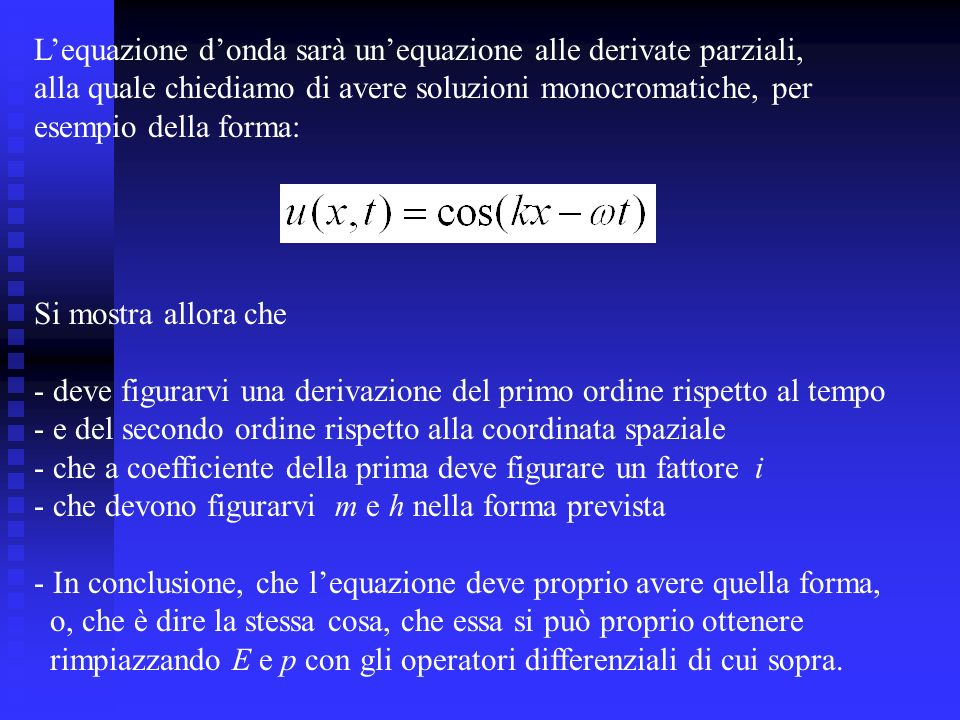 Il problema delle energie negative Ritorniamo alle soluzioni piane dellequazione di Dirac.