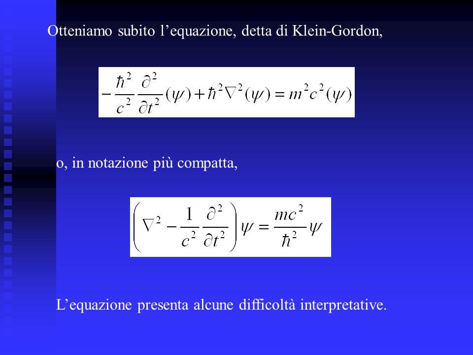 Otteniamo subito lequazione, detta di Klein-Gordon, o, in notazione più compatta, Lequazione presenta alcune difficoltà interpretative.