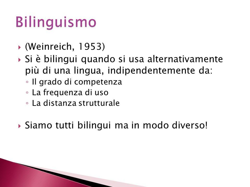 (Weinreich, 1953) Si è bilingui quando si usa alternativamente più di una lingua, indipendentemente da: Il grado di competenza La frequenza di uso La distanza strutturale Siamo tutti bilingui ma in modo diverso!