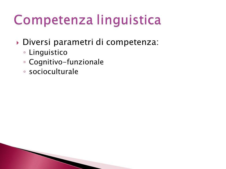 Diversi parametri di competenza: Linguistico Cognitivo-funzionale socioculturale