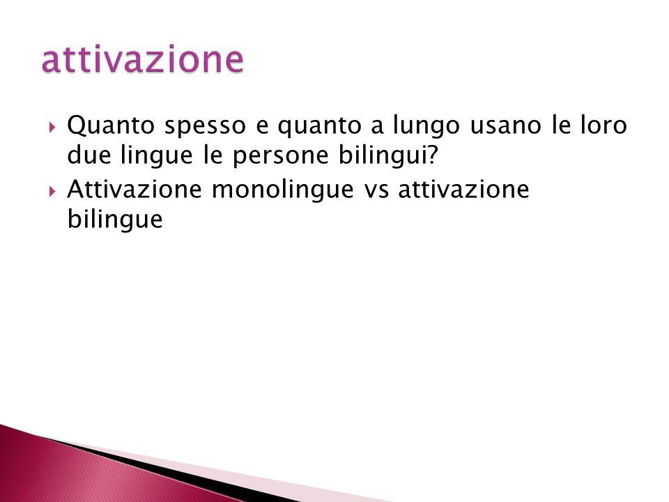 Quanto spesso e quanto a lungo usano le loro due lingue le persone bilingui.