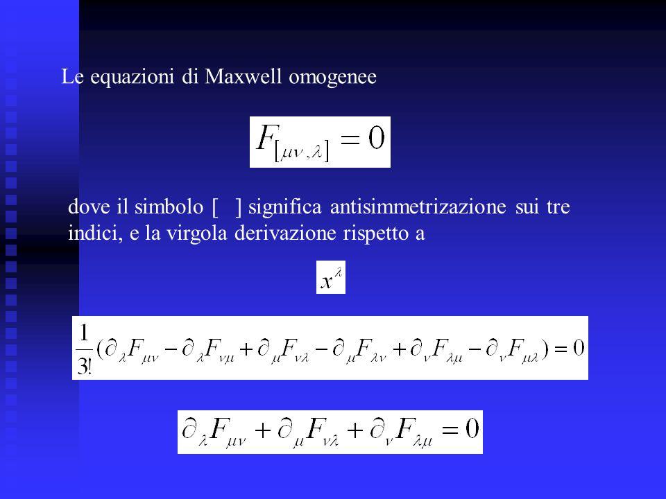 Le equazioni di Maxwell omogenee dove il simbolo [ ] significa antisimmetrizazione sui tre indici, e la virgola derivazione rispetto a